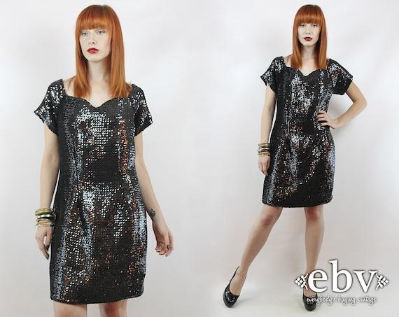 Vintage Black Sequin Party Dress L XL Black Sequin