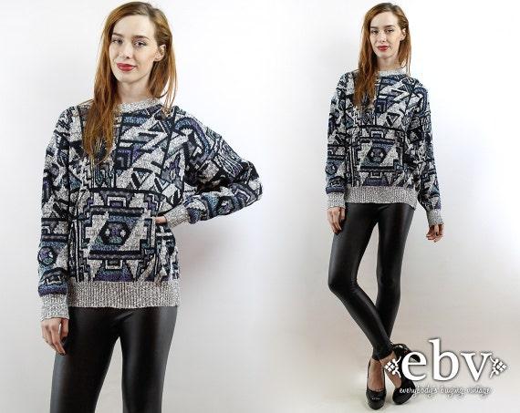 Oversized Knit Oversized Jumper Aztec Sweater Grey
