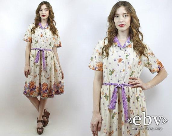 39722ab78de Floral Dress Secretary Dress Work Dress Cream Dress Knee Dress