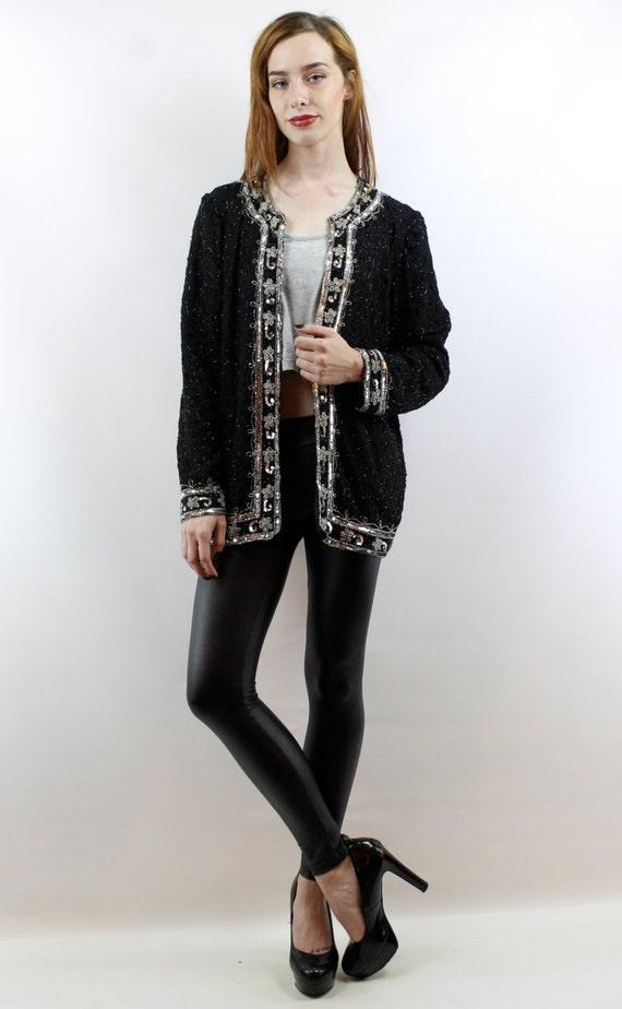 Sequin Cardigan Sequin Top Party Top Silk Cardiga… - image 2