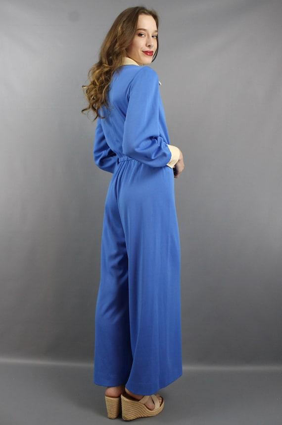 1970s Jumpsuit 70s Jumpsuit Hippie Jumpsuit Blue … - image 6