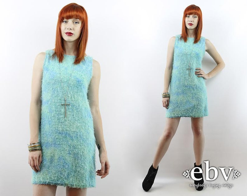 6c838329120 Vintage 90s Blue FUZZY MONSTER Dress S M Raver Dress Club