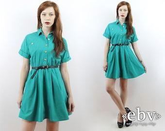 Secrétaire robe jour travail robe robe verte robe turquoise robe d'été chemise de robe des années 1980 robe Vintage des années 80 Secrétaire vert Mini robe XS S