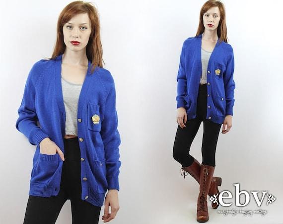 Oversized Cardigan Vintage 90s Cobalt Blue Militar