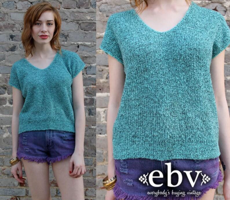 Vintage 80s Teal /& Black Summer Knit Top S M Vintage Sweater Vintage Jumper Vintage Knit 80s Knit Teal Sweater Spring Sweater Green Sweater