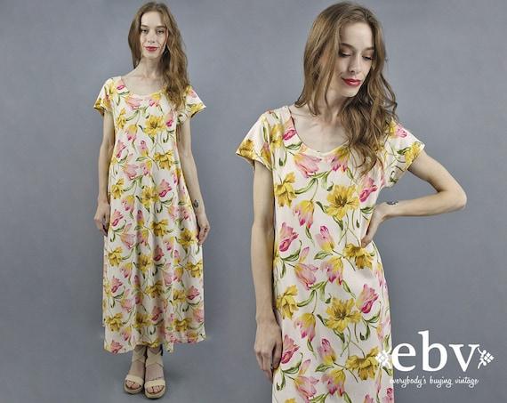 90s Floral Dress 90s Maxi Dress Floral Maxi Dress