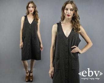 Minimalist Dress Deep V Dress Grey Dress Gray Dress Day Dress Work Dress 90s Dress Grey Jumper Gray Jumper 1990s Dress Sleeveless Dress L XL