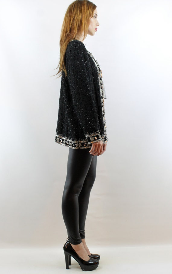 Sequin Cardigan Sequin Top Party Top Silk Cardiga… - image 4