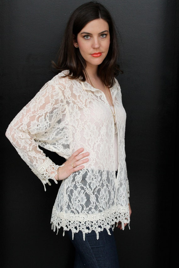 Vintage 80s Sheer Lace Batwing Blouse Top S M Lac… - image 4