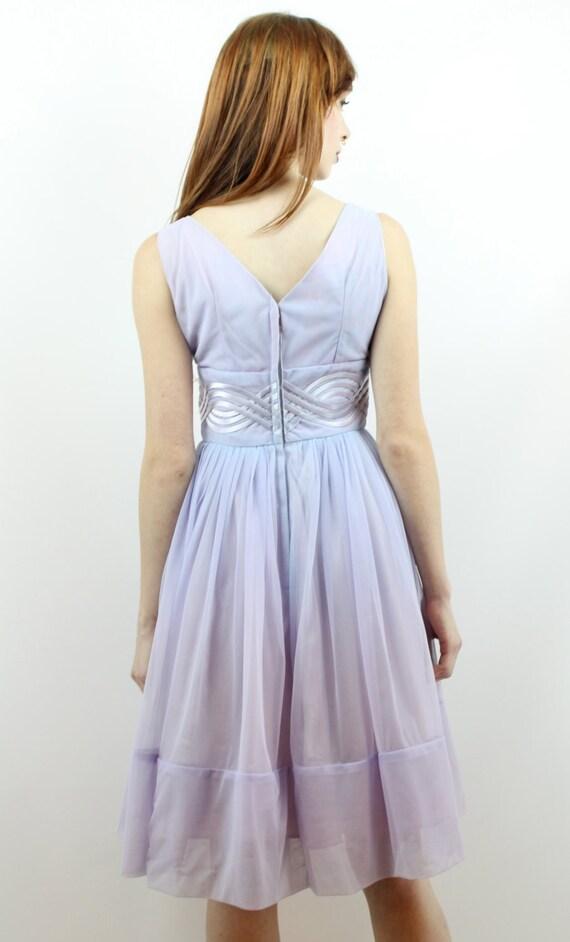 Vintage 50s Lavender Lace Party Dress XS S Prom D… - image 5
