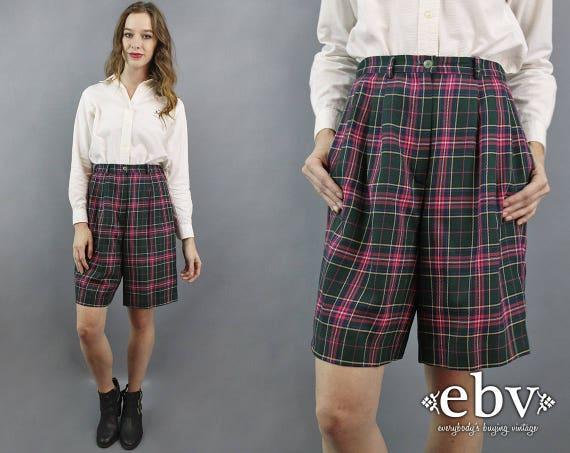 Vintage 90s plaid shortsblue and green plaid shorts90s blue shorts90s green shorts90s kid shortshigh waist shortsvintage plaid shorts