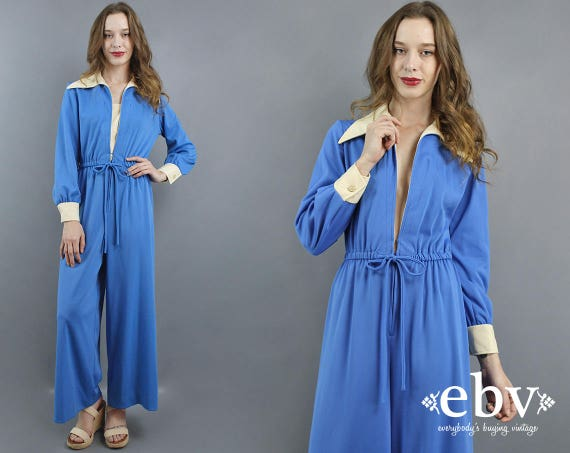 1970s Jumpsuit 70s Jumpsuit Hippie Jumpsuit Blue J
