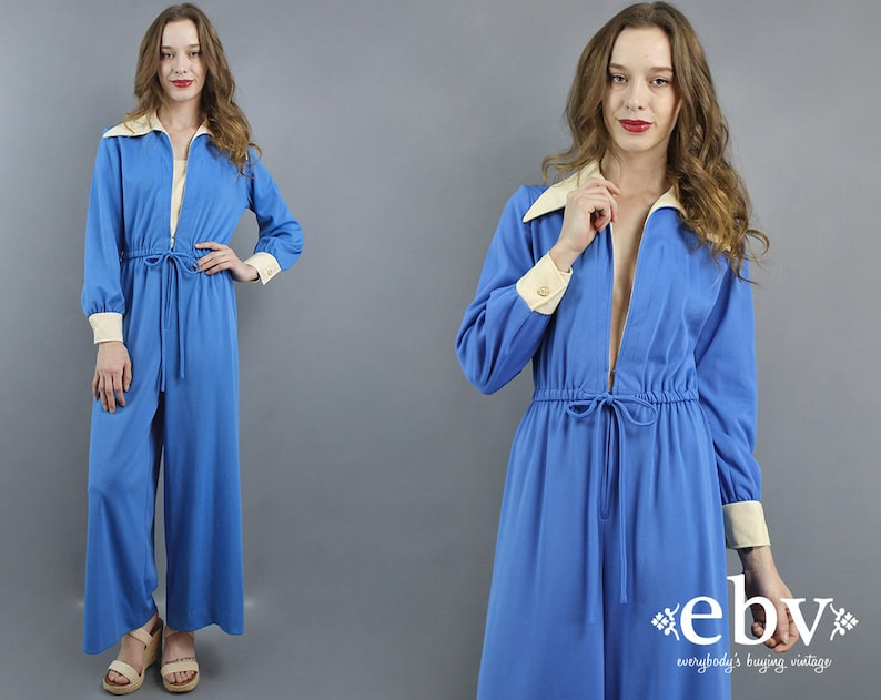 2e1f65939ab9 1970s Jumpsuit 70s Jumpsuit Hippie Jumpsuit Blue Jumpsuit Wide
