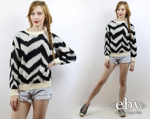 Metallic Sweater Metallic Knit 80s Sweater Chevron