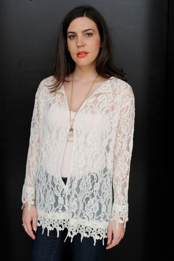 Vintage 80s Sheer Lace Batwing Blouse Top S M Lac… - image 2