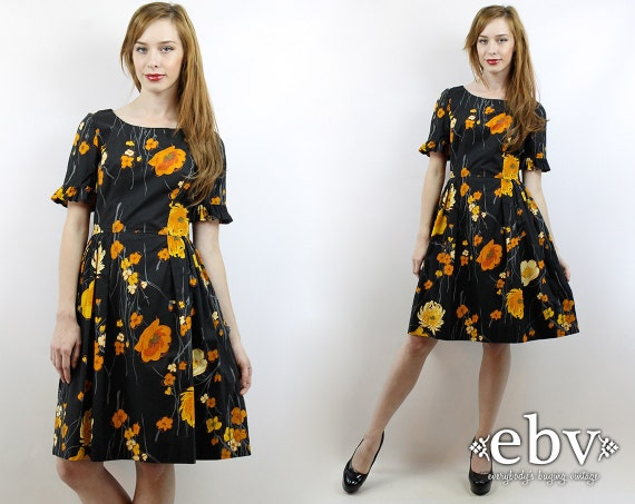 Vintage 50s Black Floral Party Dress S 50s Cocktai
