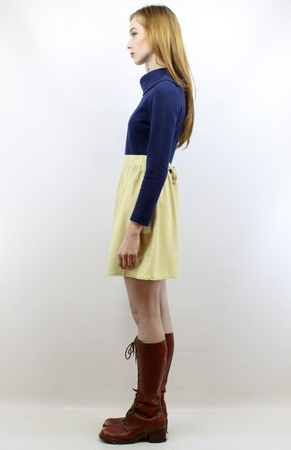 Vintage 70s Navy + Beige Mini Dress XS S Babydoll… - image 4