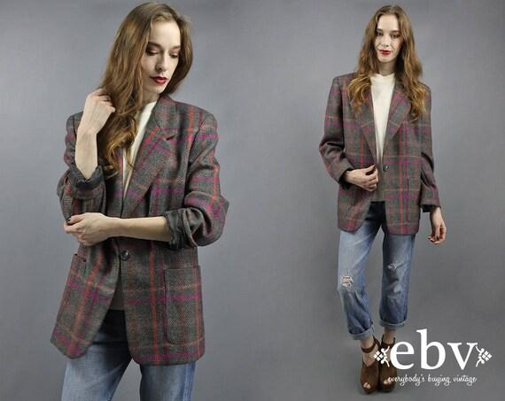 Plaid Blazer Wool Blazer Boyfriend Blazer 90s Blaz