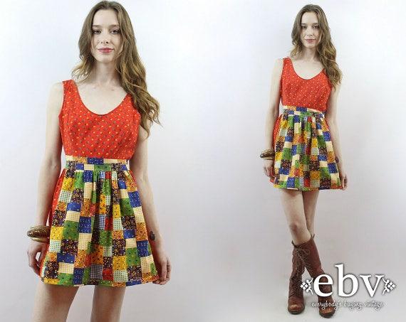 Patchwork Mini Dress Babydoll Dress 70s Dress 1970