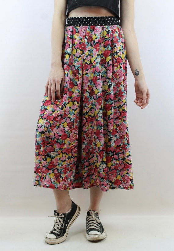 1124c1d6c32 Festival Pants 90s Pants Floral Pants Plus Size Pants Plus Size Vintage 90s  High Waisted Floral Cropped Wide Leg Pants 1X 2X Pants