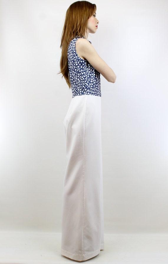 fec76301ef30 Vintage 70s Navy White Mushroom Jumpsuit L White Jumpsuit