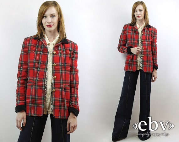 Red Plaid Blazer Plaid Jacket Wool Blazer Fitted B