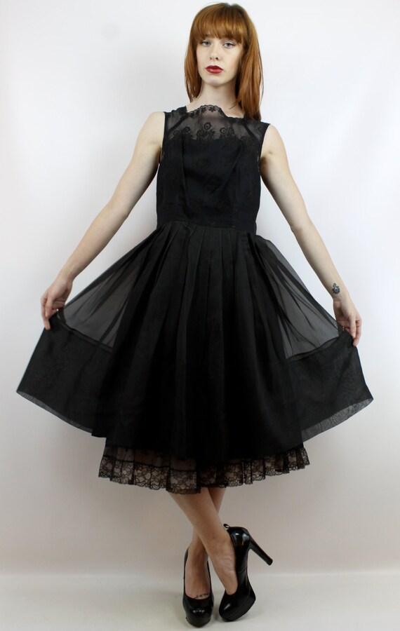 Black Prom Dress 50s Cocktail Dress 50s Party Dre… - image 2