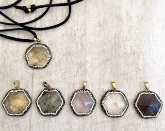 Leather and Gemstone Double-Wrap Necklace