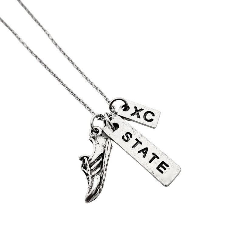 Xc State Championships Cross Country State Runner Necklace on Stainless Steel Cable Chain RUN STATE XC Pewter State Xc Team Gift