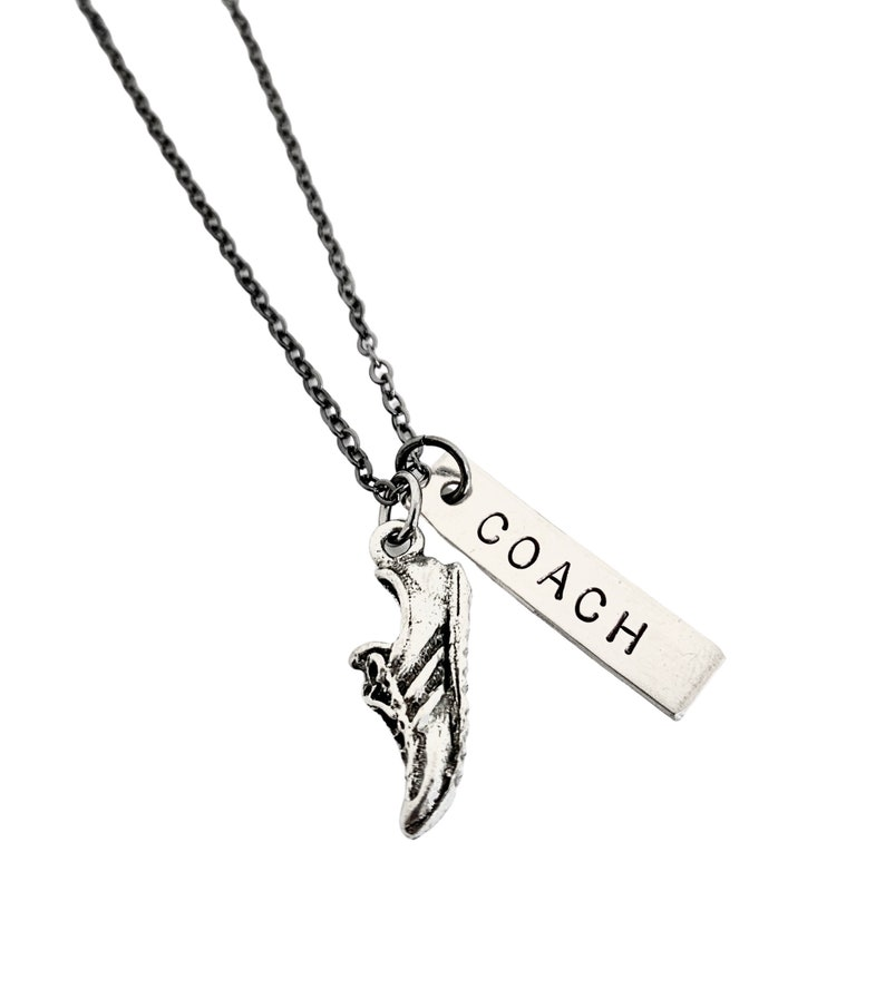 RUN COACH Necklace  Running Coach Necklace on Gunmetal chain image 0