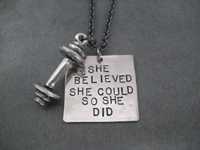 She Believed Workout Necklace Hand Hammered Nickel Silver Pendant on Gunmetal Chain SHE BELIEVED She Could So She Did BARBELL Necklace