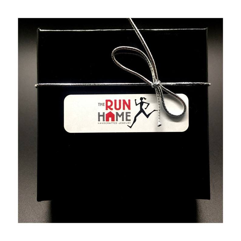 Choose Crystal I RUN THE WORLD with Race Month Crystal Charm on Sterling Silver Flat Cable Chain Pewter Running Shoe Pewter Earth Charm