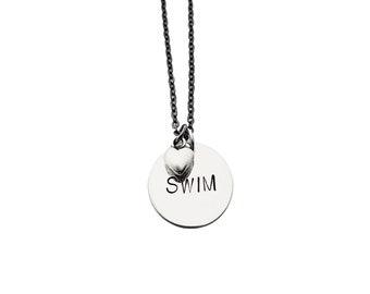 SWIM LOVE Necklace - Swimming Necklace on Gunmetal chain - Swimmer Jewelry - Swim Necklace - Swimming Necklace - Love to Swim - Swim Team