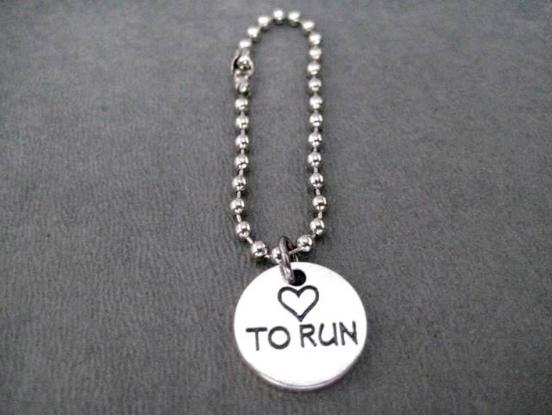 HEART TO RUN Round Pewter Pebble Charm Key Chain  Bag Tag 4 inch Ball Chain or Round Key Ring Love to Run Key Chain Love Run Bag Tag
