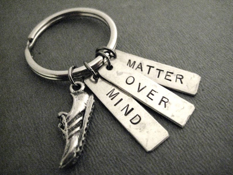 Ball Chain or Key Ring MIND OVER MATTER Running Shoe Key Chain Motivational Key Chain Run with Mind Over Matter Key Chain  Bag Tag