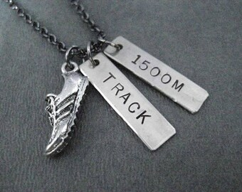 TRACK DISTANCE or EVENT Necklace - Heart or Shoe Charm - Track Event or Track Distance - Track Coach - Team - T & F - Track and Field - Race