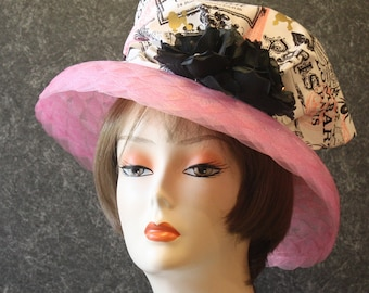 Pink Kentucky Derby Hat, 'the Oaks' Hat, Garden Party Hat, Tea Party Hat, Easter Hat, Church Hat, Wedding Hat, Downton Abbey Pink Hat 128
