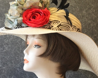 Ivory Kentucky Derby Hat, Derby Hat, Garden Party Hat, Tea Party Hat, Easter Hat, Church Hat, Wedding Hat, Downton Abbey  Ivory Hat 065