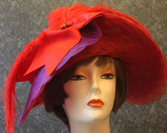 Red Kentucky Derby Hat, Society Red Hat, Victorian Hat, Downton Abbey Hat, Tea Party Hat, Garden Party Hat, Easter Hat, hat Red Hat 619