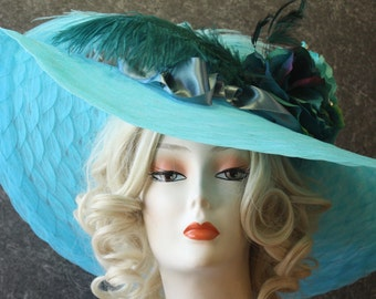 Turquoise Kentucky Derby Hat, Derby Hat, Garden Party Hat, Tea Party Hat, Church Hat, Wedding Hat, Downton Abbey Hat Turquoise Hat 054