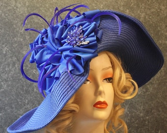 Royal Blue Hat for Del Mar, Kentucky Derby Hat, Easter Hat, Garden Party Hat, Downton Abbey Hat, Church Hat, Tea Party Hat RoyalBlue Hat 601