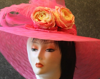 Pink Kentucky Derby Hat, Derby Hat, Garden Party Hat, Tea Party Hat, Easter Hat, Church Hat, Wedding Hat, Downton Abbey  Pink Hat 090