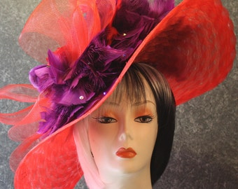 Red Del Mar Hat, Derby Hat, Society Red Hat, Victorian Hat, Downton Abbey Hat, Tea Party Hat, Garden Party Hat, Easter Hat, hat  Red Hat 036