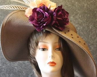 Taupe Kentucky Derby Hat, Derby Hat, Garden Party Hat, Tea Party Hat, Easter Hat, Church Hat, Wedding Hat, Downton Abbey Taupe Hat 096
