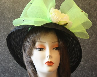 Black Hat for the Preakness, Derby Hat, Garden Party Hat, Tea Party Hat, Easter Hat, Church Hat, Wedding Hat, Downton Abbey Black Hat 764