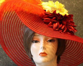 Red Kentucky Derby Hat, Derby Hat, Garden Party Hat, Tea Party Hat, Easter Hat, Church Hat, Wedding Hat, Downton Abbey Hat, hat  Red Hat 399