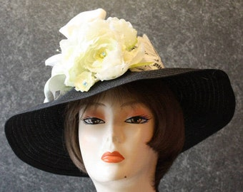 Black Hat for the Preakness, Derby Hat, Garden Party Hat, Tea Party Hat, Easter Hat, Church Hat, Wedding Hat, Downton Abbey Black&White  376