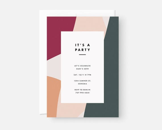 simple modern party invitations minimalist invite design etsy