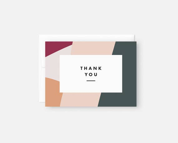 Thank You Notecards Modern Thank You Cards With Envelopes Etsy
