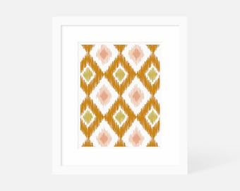 Modern Art Vertical / Modern Graphic Art Prints / Large Ikat Wall Art / 5x7 8x10 11x14 16x20 18x24 / Matted and Framed